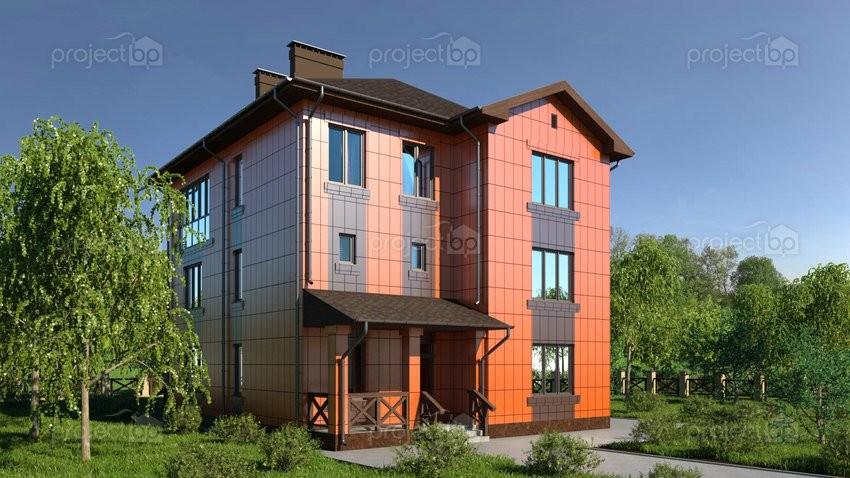 Проект трехэтажного дома с вентилируемыми фасадами 299-A-2